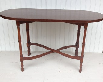 Vintage Collapsible Side Table - Dark Walnut Colored Top and Frame