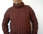 Melange Brown Cabled Men Sweater Hand Knit Wool Sweater Men Fashion Sweater NEW