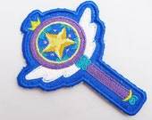 Star Butterfly wand Machine embroidered Iron on or Sew on Patch