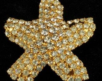 "Vintage Dorothy Bauer Starfish Pave Swarovski Crystals Pin 1.5"""