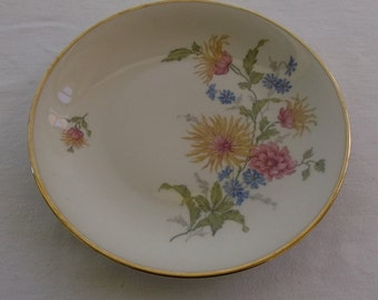 Vintage Decorative China Plate, Floral, Gold Edge, Bavaria