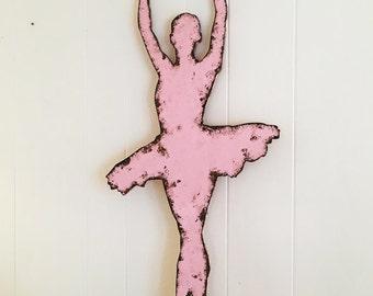 "37"" Tall Ballerina Wall Decor Shabby Chic Cottage Girls Room Playroom Dancer Ballet Wall Hanging Kids Room Decor Recital Gift"