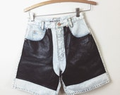 "90s vintage chap shorts. High waisted rocket faux leather shorts . 27"" waist . Small  s"