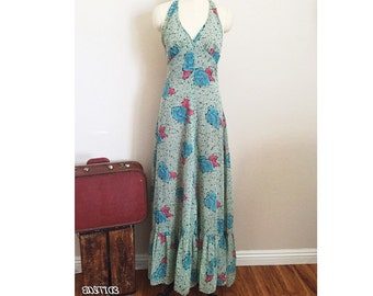 70s Vintage Floral Halter Sundress~ 1970s Blue Rose Maxi Dress~Small S