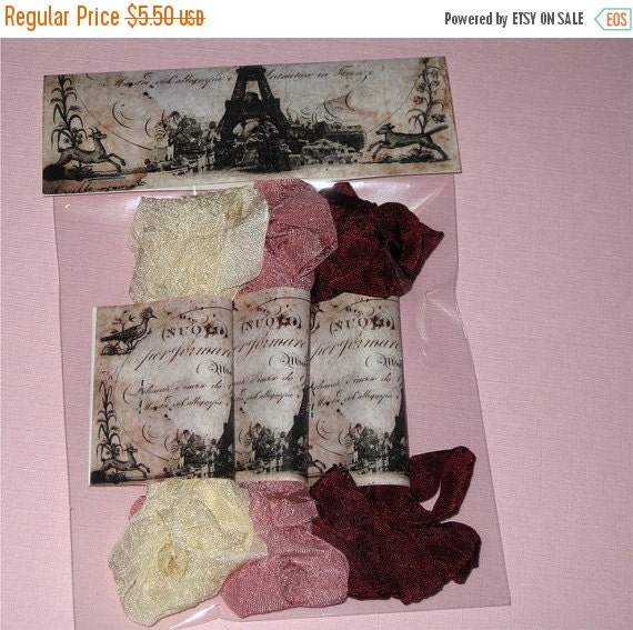 End of Summer Scrunched Seam Binding ribbon, Crinkled and Dyed Vintage Cream and Wine Seam Binding Packaged ECS