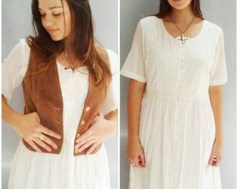 vintage 90s Boho dress BASIC white COTTON rayon embroidered maxi dress TOGETHER  m, l
