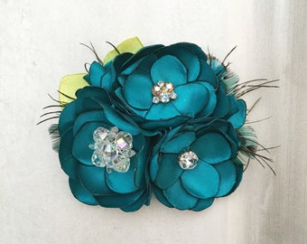 Handmade Teal Blue Fabric Hair Flower