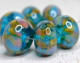 lamp work beads... SRA handmade, lampwork beads, aqua, pastel beads, multicolor beads set of (6) for making jewelry 921116-9