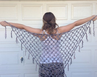 LACE SHAWL/ Swim Suit Wrap / Hip Scarf Pink Grey & White with Silver Sparkle