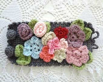 Bohemian Crochet Bracelet #3, crocheted array of flowers, statement bracelet, flower bracelet,