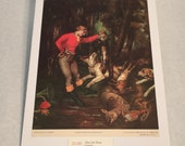 """1937 Art Print """"After the Hunt"""" by Gustave Courbet"""