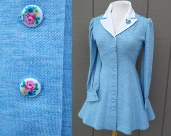Sky Blue Vintage Mini Dress with Floral Buttons