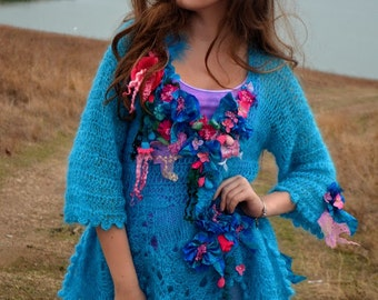 Sweater size M/L Freeform crocheted knitted sweater mori girl fairy gypsy art to wear sweater