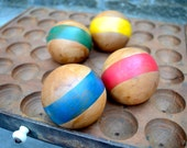 Classic Antique Style wood croquet ball set hand painted 4 primary colors striped