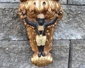 Carved Gold Gilt  Shelf Sconce Intricate Ornate Monkey Bombay Rococo art