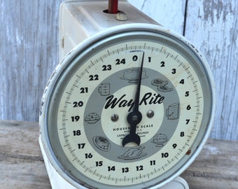 Vintage Way Rite Dietary Kitchen scale 25 lbs White metal enamel red