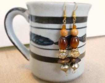 Brown Glass And Wood Bead Dangle Earrings, Goldtone Earrings, Cat's Eye Glass Beads, Handmade Earrings