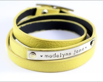 Personalized Mommy Bracelet | Leather Wrap Bracelet | Yellow, Grey, Other Colors