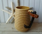 Rope & Anchor Handle Mug. Beer or Large Coffee Mug, Vase. Lefton, Made in Japan. Vintage 1960s. Beach House, Nautical, Coastal, Boat Decor.