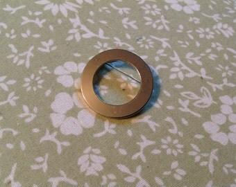 Vintage Silver Circle Brooch, circle pin, silver circle pin
