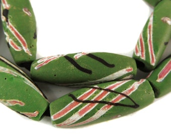 11 Venetian Trade Bead Green Striped Africa Loose 99066 SALE WAS 175