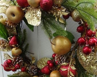 Christmas Wreath  Holiday Wreath  Elegant Wreath  Faux Wreath Holiday Gift  Christmas Gift  Front Door Wreath Hand Crafted Wreath
