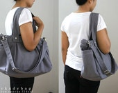 Custom Nuch bag in Gray Canvas - Diaper bag, Tote, Shoulder bag