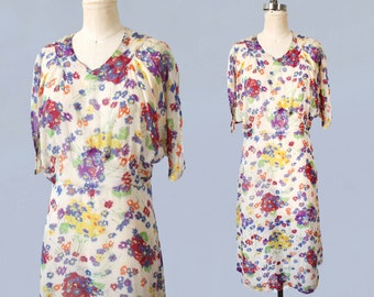 1930s Dress / Floral Print Chiffon Summer Dress / 30s Sheer Floral / M L