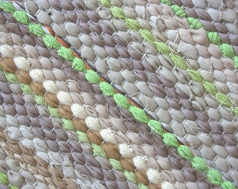 Hand woven rag rug 2.3 feet by 5.8 feet(70cm x 177cm)  colors light beige, beige, brown, green, without fringe, ready for sale