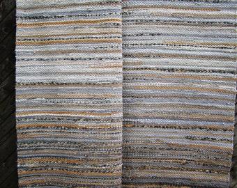 Handwoven, Scandinavian style,  vintage look , area rag rug ,,grey rock'' -5.03' - 6.74'ready for sale
