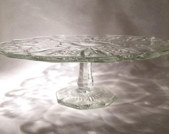 Pressed Glass Cake Stand