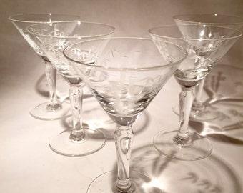 Vintage Martini Glasses - Sasaki Bamboo
