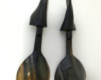 Buffalo Horn Large Spoon Fork Serving Set