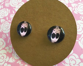 Ballerina Earrings, Pointe Shoe Earrings, on titanium posts