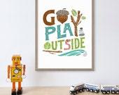 Go Play Outside Kids Wall Art, Acorn, Leaf Print, Childrens Art, Nursery Print, Nursery Decor, Home Decor, Kids Art, Woodland Nursery