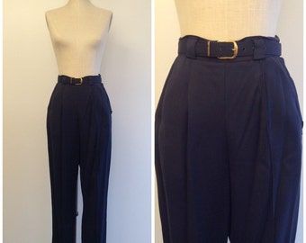 1940s Navy Blue Gabardine Pants 40s Trousers