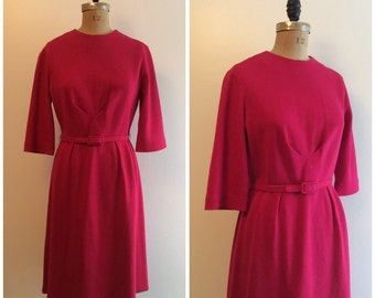 1950s 1960s Magenta Knit Dress 50s 60s Fuschia Party Dress