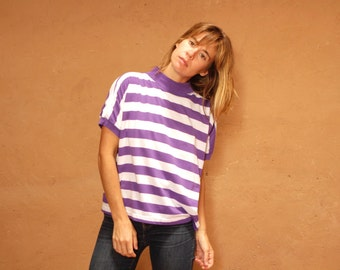 90s striped OXFORD soft SPRING t shirt top purple and white shirt