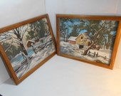 Vintage Rural Winter Scene Matched Pair Paint-by-numbers Oil Painting 12 x 16 Framed 80's