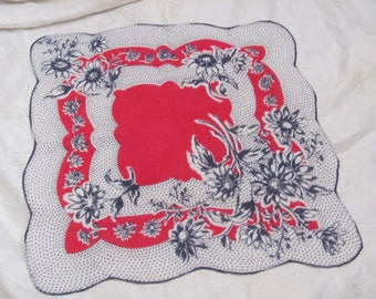 Beautiful Red Blue Floral Cotton Hankie Handkerchief