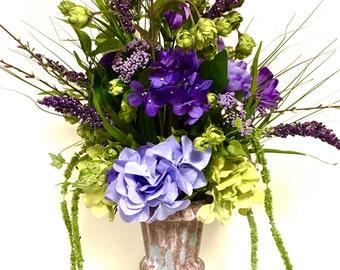 "FREE SHIPPING  Elegant Floral Arrangement Shades of Purple & Lime Hydrangea Peony Urn TALL 24"""