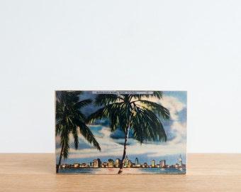 Americana Vintage Postcard Art Block 'Moon Over Miami' - palm trees, miami beach, miami skyline, vintage miami, nighttime beach