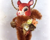 Autumn Squirrel Thanksgiving Feather Tree Ornament