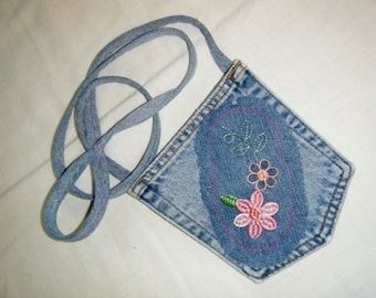 POCKET PURSE Recycled Denim Jean Bag Embroidered Flower Appliqué with Extra Small Pocket