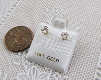 4mm CZ 14K Gold Stud Earrings,  Cubic Zirconia Studs, SALE