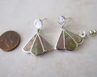 Inlaid Mother of Pearl sterling silver earrings, Iridescent MOP Fan Shaped Earrings