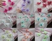 Colorful Beaded Butterflies Flowers Appliques For Headwear Decor Fashion Costume 4 pcs