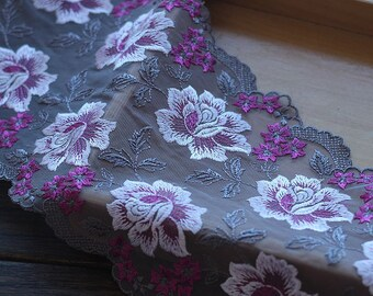 2 Yards Lace Trim Purple Rose Flowers Embroidered Tulle Lace 6.69 Inches Wide High Quality