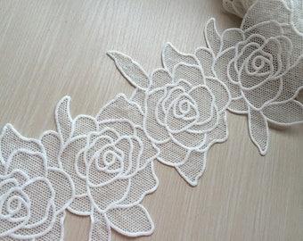 Cream White Lace Trim Big Rose Embroidered Lace Trim 6.69 Inches Wide 1 yard
