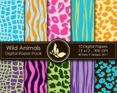 50% Off Wild Animals Paper Pack - 10 Digital papers - 12 x12 - 300 DPI